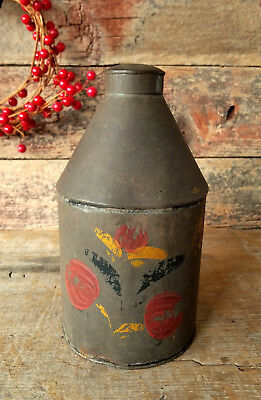 Antique c.1820's Old TIN TOLEWARE Early Form Tea Cannister Caddy ORIGINAL PAINT