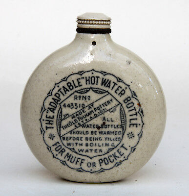 Old Fulham Pottery  Stoneware Adaptable Hot Water Bottle For Muff Or Pocket
