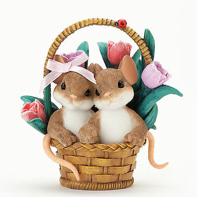 Enesco Charming Tails Spring Sweetness Easter Basket Mouse Figurine 4035258