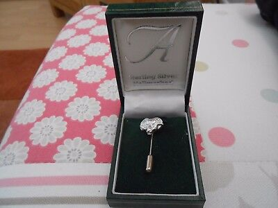Sterling Silver Stick Pin Brooch-Unisex-Rams Head Shaped-Fully Hallmarked-Boxed