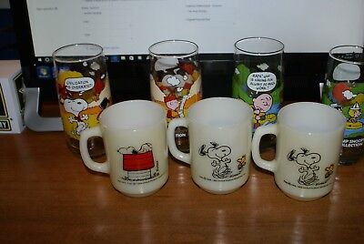 Vintage Peanuts Snoopy Anchor Hocking Fire-King Mugs (3) and 4 glasses
