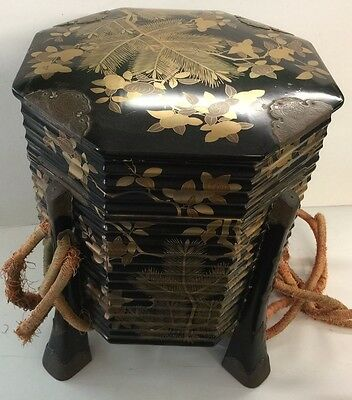 A Japanese engraved brass-mounted lacquer box and cover, kaioke, 19th century