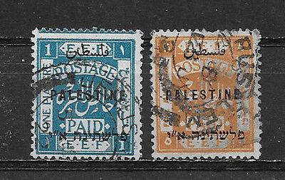 Palestine , 1921 , Set Of 2  Stamps O.p. ,  Perf , Used