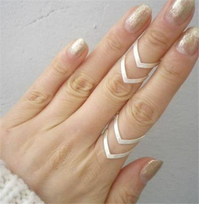 Silver Double Adjustable Size V Ring, Open Half Chevron Style Ring