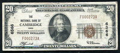 1929 $20 The National Bank Of Cambridge, Oh National Currency Ch. #6566