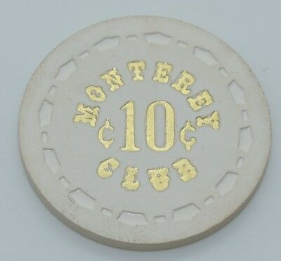 Monterey Club 10¢ Casino Chip Gardena California Sm-Crown Mold FREE SHIPPING