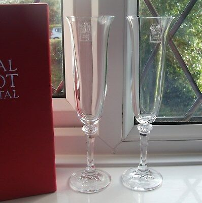 Stunning Pair Of Royal Scot Crystal Champagne Flute Glasses New Boxed Ideal Gift