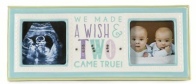 "Grasslands Road Confetti Baby Boy 3"" x 3"" Double Photo Frame Made a Wish 460241"