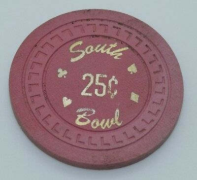 South Bowl 25¢ Casino Chip Sacramento California L's Mold FREE SHIPPING