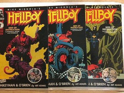 Hellboy Seed of Destruction (Oct 1994, Dark Horse) 1-3 Mike Mignola Issue 3 Sign