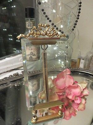 ADORABLE ANTIQUE FRENCH BRASS PHOTOGRAPH FRAME  RIBBON BOW GARLAND ~ 1920's