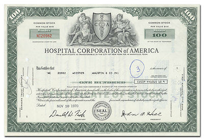 Hospital Corporation of America Stock Certificate