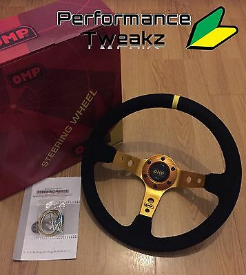 New Universal Gold Omp 350Mm Suede Deep Dish Racing Steering Wheel Sparco Nardi