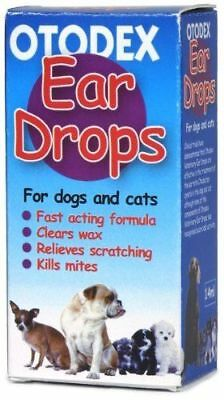Petlife Otodex Veterinary Eardrops Dogs Cats Pets Kill Ear Mites Clears Wax 14ml