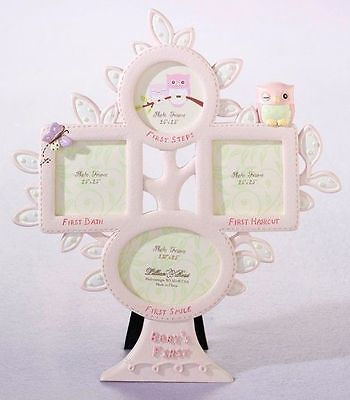 "Lillian Rose Baby Girl 10"" Pink Owl First Year Photo Picture Frame 24FR211 OP"