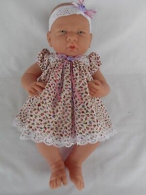 Handmade dolls clothes (Dress, pants, headband set) fit Boutique La Newborn doll