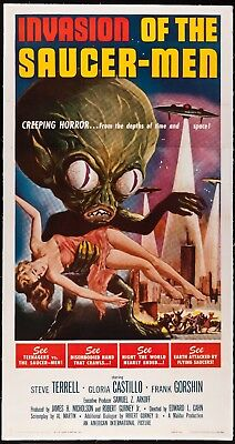Invasion Of The Saucer-Men Three Sheet from 1957 in Very Fine Condition