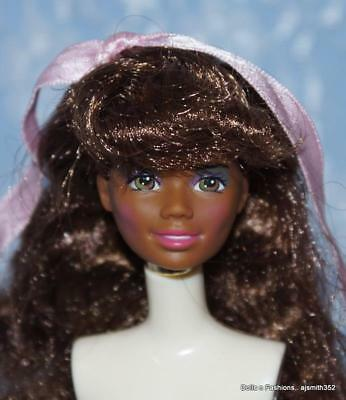 Gorgeous AA Barbie Long Dark Brunette Hair Brown/Green Eyes DOLL HEAD ONLY
