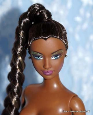 Gorgeous AA African American Barbie Doll Dark Brunette Hair Braid Ponytail Nude