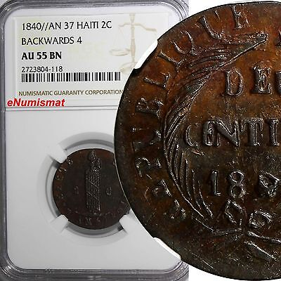 HAITI 1840 // AN 37 Backwards 4 2 Centimes NGC AU55 BN RARE TOP GRADED KM# A22
