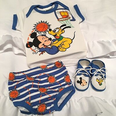 Disney Babies Vtg 1984 Newborn baby to 6 Months Set Blue Mickey Pluto Basketball