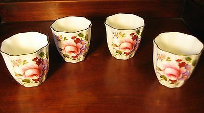4 Royal Crown Derby Gilded Egg Cups Derby Posies