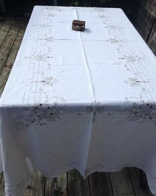 Antique Vintage MADEIRA Embroidered Linen Art Deco Tablecloth Taupe Embroidery