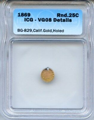 1869 RD Liberty California Fractional Gold / BG-829 LR5 ICG VG08 Det