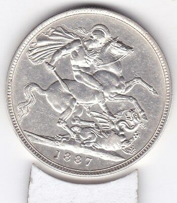Excellent  1887  Queen Victoria Large Crown / Five Shilling  British  Coin