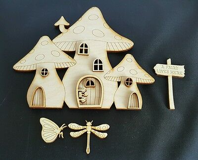 Mdf Fairy Door  Mushroom House shape DIY 13 pcs