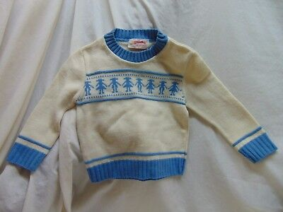 *Vintage* Baby/Toddler Size 18/24 Month Ivory & Baby Blue Sweater by Little Bug