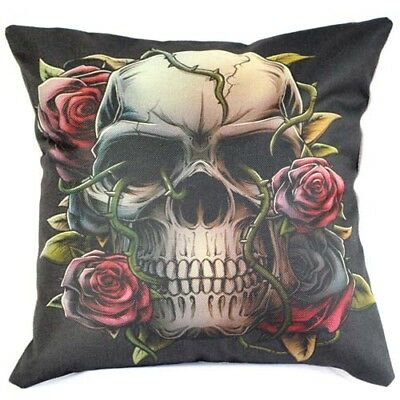 Home Decoration Colorful Skull Cotton Linen Cushion Cover tsd Pillowcase 45cm/1