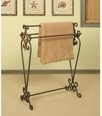 Vintage Old Fashioned Quilt Rack Blanket Stand ~ Oil-Rubbed Bronze Metal Scroll