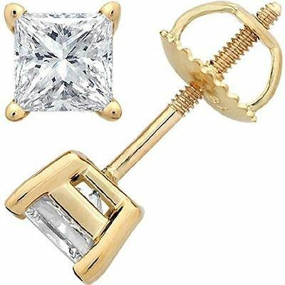 2 ct Princess Cut Diamond Studs 14k Yellow Gold Basket style Earrings SI1clarity