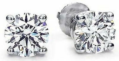 2 CT ROUND Ideal cut DIAMOND STUDS PLATINUM EARRINGS with GIA report G VS