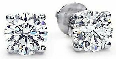 2.50 carat Round Diamond IDEAL CUT Studs 18k White Gold Earrings GIA cert. G SI1