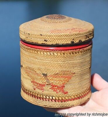 FINE OLD NORTHWEST COAST MAKAH NUU-CHAH-NULTH INDIAN TOBACCO TIN BASKET c1900