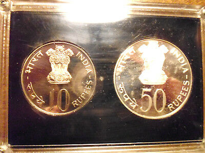 SILVER, India, 1974, Proof Set, Low Mintage, only 1712 made, 50 & 10 Rupee, Food