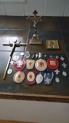 Religious Lot Medals Crucifix Picture Lot