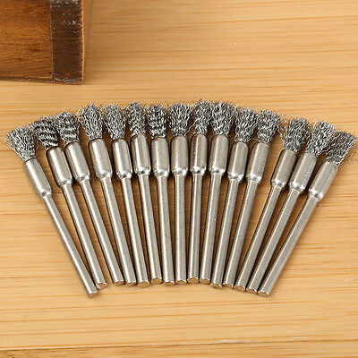 10X 3mm Rotary Steel Wire Wheel Brush Cup Tool Shank for Drill Rust Weld.