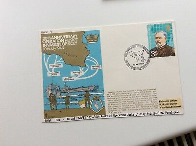 First Day Cover Royal Navy Naval Warship Hms Penelope Invasion Of Sicily 1943