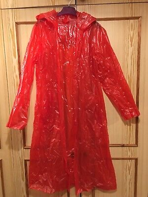 Red Maxi Full Length Vintage C&A Raincoat M