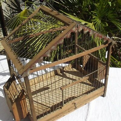 Vintage French Bird Cage Wood and Wire Garden Decoration Birdcage