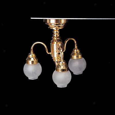 1/12 Dollhouse Miniature LED Chandelier with Battery Ceiling Lamp Light Accs