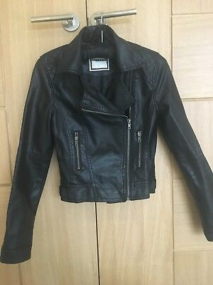 Girls Leather Jacket, Age 10-11 Black, Biker Style, Excellent Condition