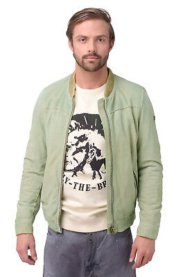 DIESEL Size L Men's LISKO 0DAAR Washed 100% Suede Leather Contrast Back Jacket