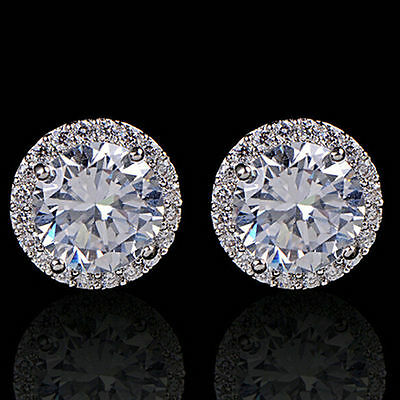 Earrings 9ct White Gold Filled Diamond Studs 11 mm Mother Gift Summer Christmas