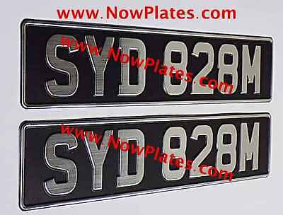Pair of Brushed Chrome Pressed Number Oblong Plates