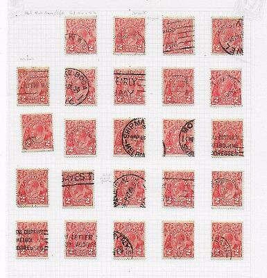 1931-1936  AUSTRALIA 2d RED SHADES & POST MARKS STAMPS IN GOOD CONDITION # 3.