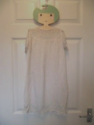 Vintage Girls Boys Beautiful Blue Embroidered Cream Nightdress 6-12 M